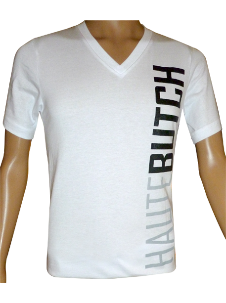 HauteButch White V-Neck Jersey Tee