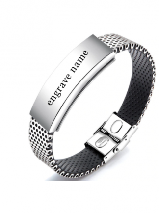 Engraved Stainless Steel Bracelet
